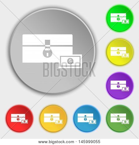 Chest Icon Sign. Symbol On Eight Flat Buttons. Vector