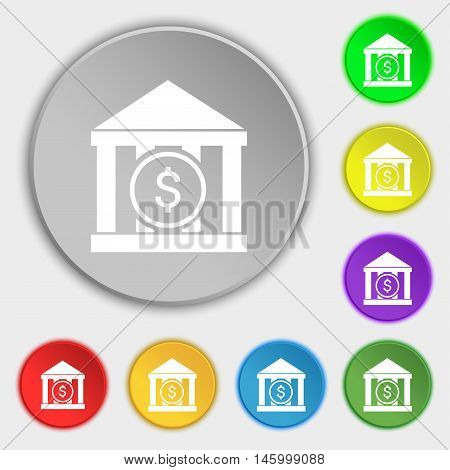 Bank Vector Icon Sign. Symbol On Eight Flat Buttons. Vector