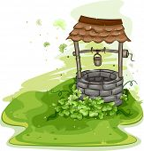 foto of wishing-well  - Illustration of a Well Surrounded by Shamrocks - JPG