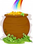 picture of end rainbow  - Illustration of a Pot of Gold at the End of the Rainbow for Background - JPG