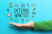 Interns Wanted Concept With Hand poster