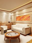 foto of lounge room  - 3d rendering of the lounge room in yacht style - JPG