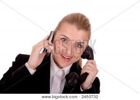 Businesswoman Communication By Mobile  Over White Background.
