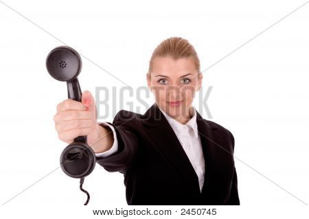 Businesswoman Hold Phone Over White Background