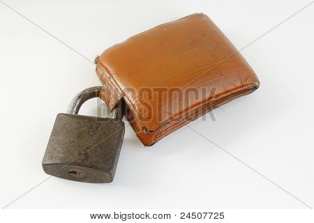 Yellow Grunge Wallet And  Lock