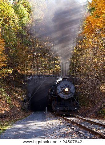 Steam Locomotive Leaving Tunnel