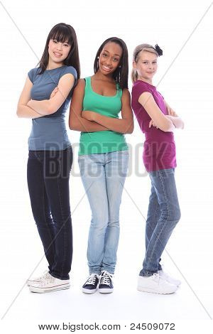 Three Teenage Girl Friends Black White And Asian