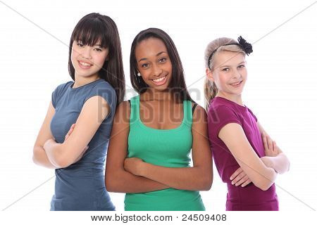 Multi Cultural Group Teenage School Girl Friends