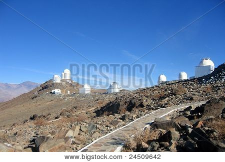 Chile, Atacama Desert, La Silla telescopes panorama view