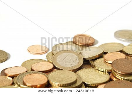 Pile Of Euro Coins With White Copy Space