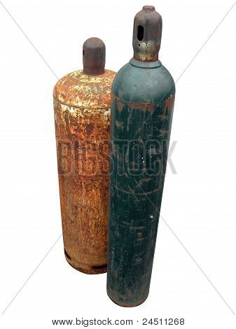 Isolated Textured Gaz Bottles