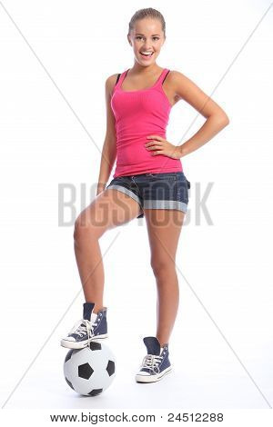 Smiling Teenage Sports Girl With Soccer Ball