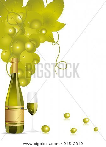 white background with champange bottle,glass