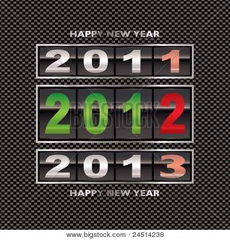 Changing from 2011 to 2012 new year date on carbon fiber background