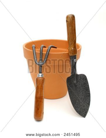 Terra Cotta Pot And Tools