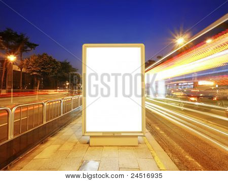 Blank billboard on sidewalk