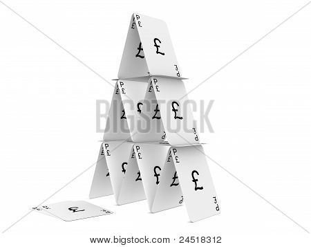 Pound Sterling Card Tower. Isolated On The White Background