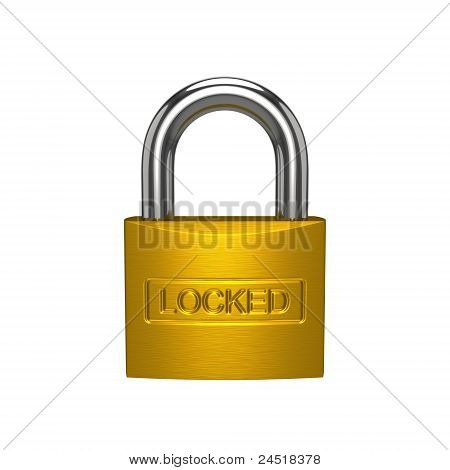 Brass Padlock Isolated On The White Background