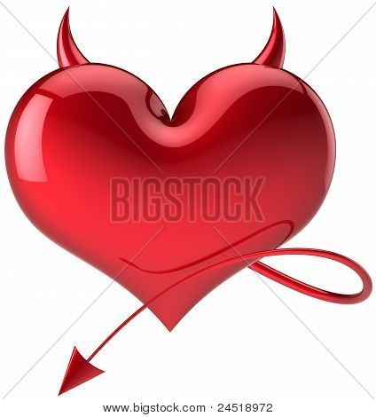 Devil heart danger Love symbol total red with horns