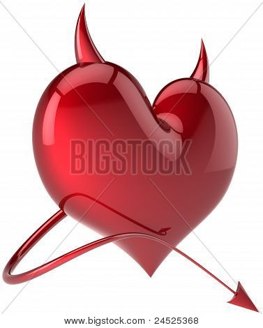 Heart shape of Devil colored total red