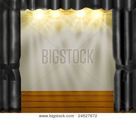 Stage With Gray Velvet Curtains And Wooden Floor.