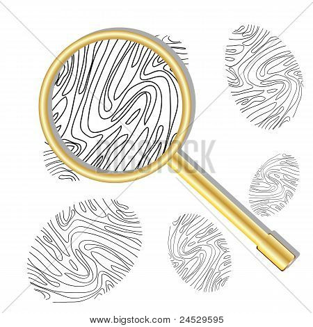 Magnifying Glass And Fingerprint