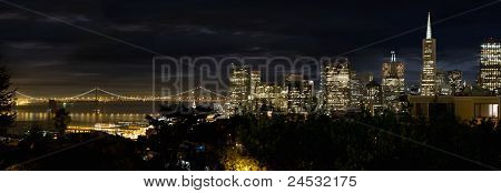 San Francisco Skyline And Oakland Bay Bridge At Blue Hour
