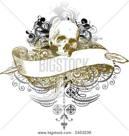 Vector Skull Banner Illustration