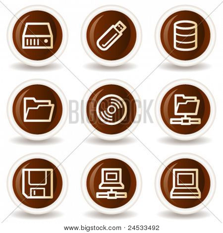 Drives and storage web icons, chocolate buttons