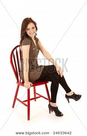 Woman On Red Chair Smile