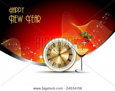 beautiful illustration with cock tail glass,watch for new year 2012