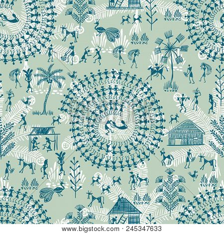 poster of Warli Art Painting Seamless Pattern - Hand Drawn Traditional The Ancient Tribal Art India. Pictorial
