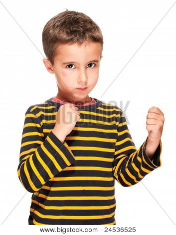 Little Bully Boy With Black Eye In Fighting Stance