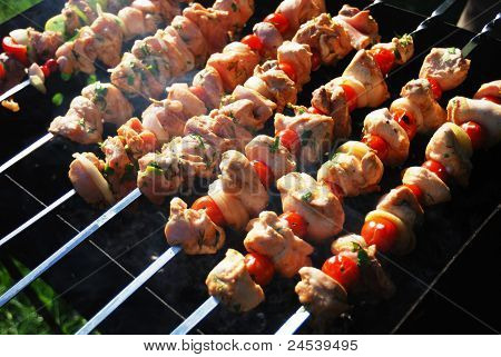 Grilled Meat On Metal Skewers