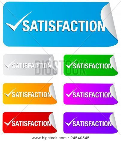 satisfaction check mark,rectangular stickers