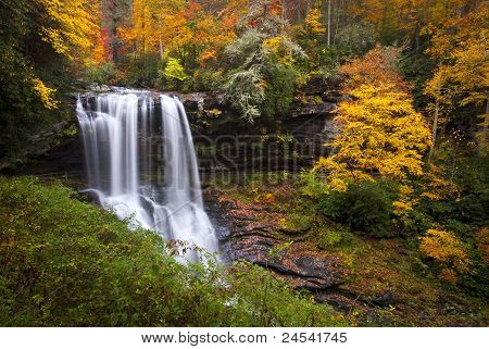 Dry Falls Autumn Waterfalls Highlands Nc Forest Fall Foliage