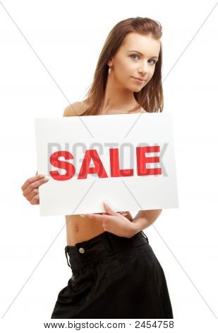 Lovely Girl Holding Sale Word Board