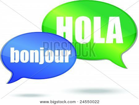 Bonjour and hola messages illustration design