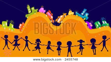 Caravan, Silhouette Of Group Of Kids Playing