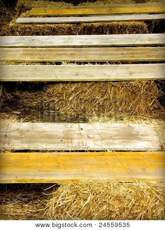 Wooden planks on the hay