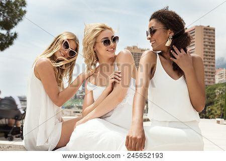 Group Of Multiracial Girlfriends Having