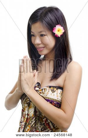 Thai woman in a traditional wellcoming gesture