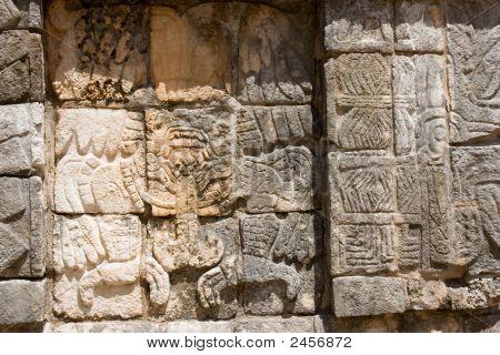 Mayan Relief. Chichen Itza. Horizontal