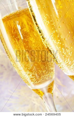 Macro image of two champagne flutes