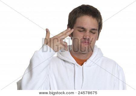 Teenage Boy Pointing To Head