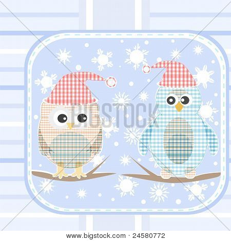 illustration of an owl and a penguin on a tree under snowfall
