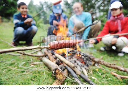 Barbecue in nature, group of people preparing sausages on fire (note: shallow dof)