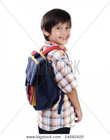 Schule kid isoliert lächelnd