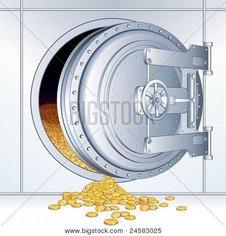 Opened Vault Door with a Full of Money Storage