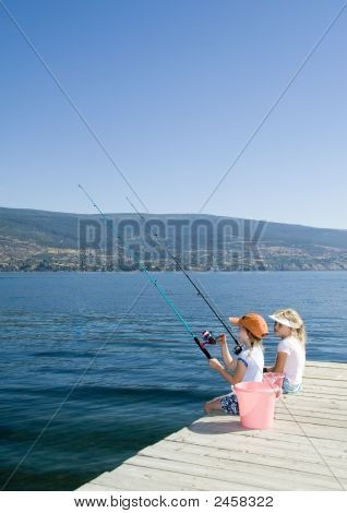 Kids Fishing In Lake
